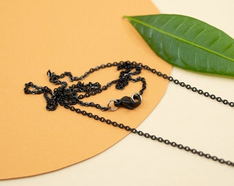 1.5mm black dainty stainless steel cable chain, black delicate chain necklace for women, black chain for pendant, 14 to 36 inches