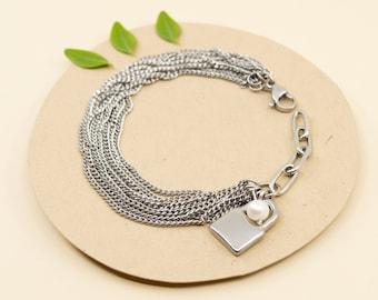 Silver multi strand chain bracelet, stainless steel curb chain bracelet, adjustable bracelet for women, padlock & pearl charm bracelet