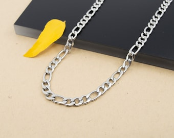6mm figaro stainless steel chain necklace, chain 14 inch to 28 inch, men's chain figaro flat links, anti-allergenic chain