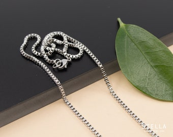 2mm stainless steel box chain necklace, unisex finished chain, 14 in to 36 in, silver box chain for pendant