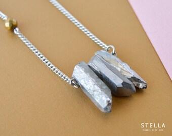 Silver aura quartz triple point necklace, grey titanium quartz pendant, mystic silver quartz points, stainless steel chain, gold pyrite gem