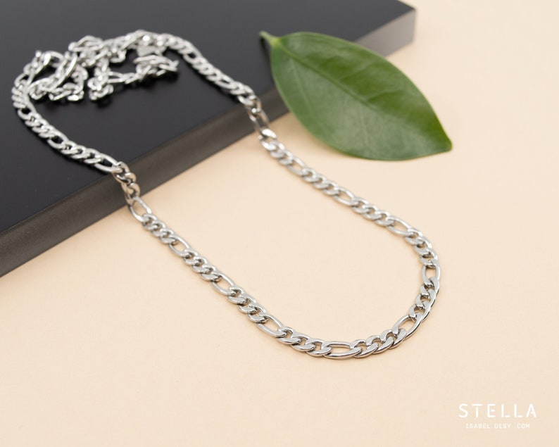 4.5mm figaro stainless steel chain necklace chain 14 inch to image 0