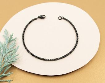 2mm black rolo box chain bracelet, stainless steel chain links bracelet, women's black bracelet, layering bracelet for her