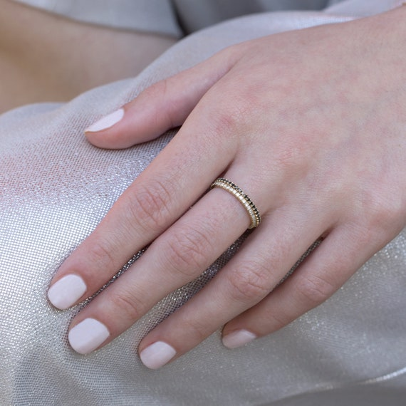 Thin Diamond Band Tiny Diamond Ring Dainty ring Stackable Band 14K Yellow Gold Stacking Ring 3 Stone Band Promise ring