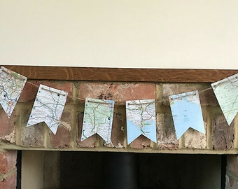 Pennants Rustic Party UK Map Bunting Garland Banner Wedding Decoration