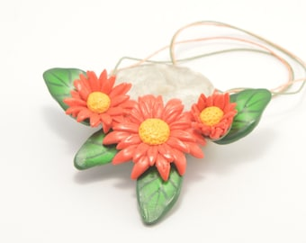 Marigold necklace, polymer clay necklace, art necklace, flower necklace, floral necklace, polymer clay jewelry, art jewelry, clay jewellery