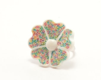 Roman mosaic polymer clay ring shaped like a flower, polymer clay ring, art ring, flower ring, floral ring, handmade ring, unique ring