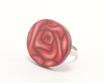 Polymer clay ring, rose cane ring, rose cane, polymer clay jewelry, cane ring, rose ring, rose jewelry, gift for her