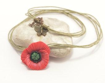 Polymer clay necklace, poppy necklace, flower necklace, floral necklace, polymer clay poppy, poppy jewelry, floral jewelry, poppy jewellery