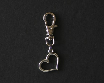 Heart-Valentine-Zipper Charm-Silver-Tone