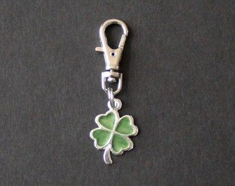 Shamrock-Four Leaf Clover-St. Patrick's Day-Zipper Charm-Enamel