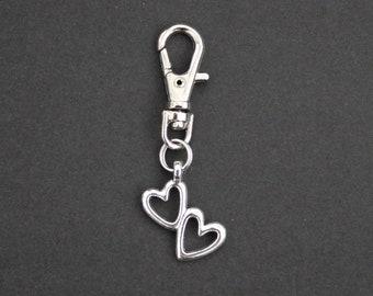 Heart-Double Heart-Valentine-Zipper Charm