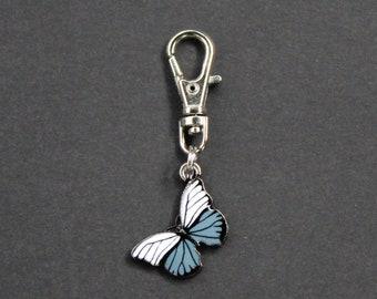 Butterfly Zipper Charm-Enamel-Blue and White