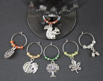 Fall-Thanksgiving-Wine Glass Charms-Set of 6-FALL003-6