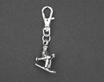 Skier-Pewter-Zipper Charm