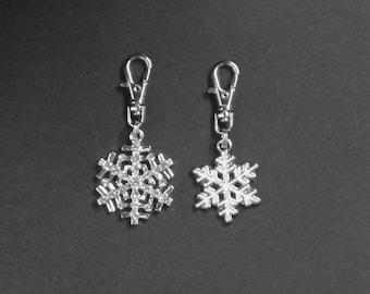 Christmas-Snowflake Zipper Charm-Rhinestone or White Enamel