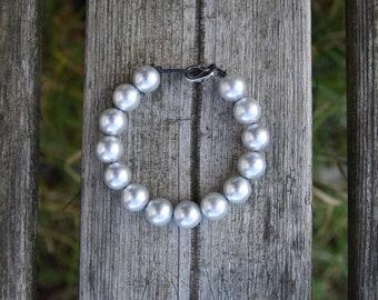 Beaded Gray Pearl Cotton Cord Bracelet