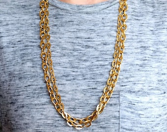 Two Gold Oval Link Chain Necklaces Set