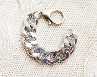 Chunky Curb Silver Chain Bracelet