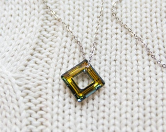 Mirrorred Green-Gold Swarovski Crystal Stainless Steel Necklace
