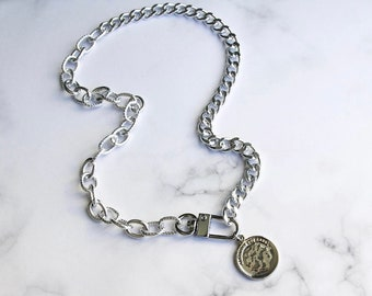 Silver Textured Oval Link Curb Chain Coin Disc Clasp Necklace