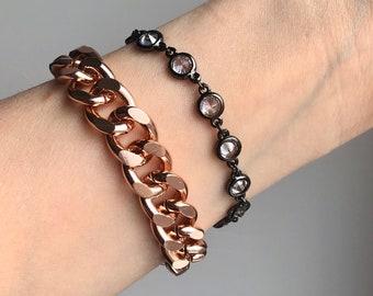 Rose Gold Curb Chain Bracelet and Gunmetal Crystal AB Bracelet Set