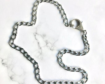 Silver Curb Chain Necklace with Crystal CZ Pave Lobster Clasp