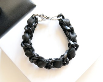 Black Textured Chain Bracelet with Weaved Black Leather