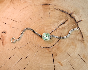 Square Cushion Swarovski Crystal Stainless Steel Small Curb Chain Bracelet