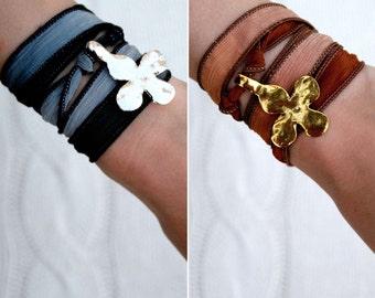 Silk Ribbon Wrap Charm Bracelet with Hammered Cross