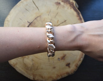 Rose Gold Curb Chain Weaved Rose Gold Leather Bracelet