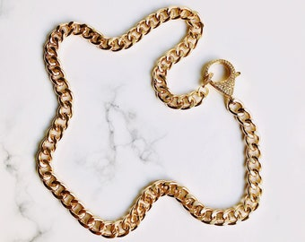 Gold Curb Chain Necklace with Crystal CZ Pave Lobster Clasp
