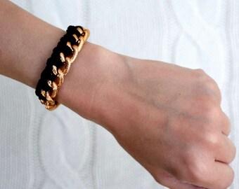 Braided Gold Textured Chain Cotton Cord Bracelet