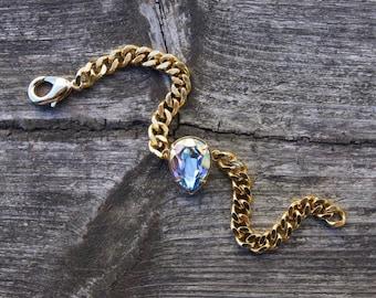 Tear Drop Pear AB Swarovski Crystal Stainless Steel Gold Chain Bracelet
