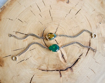 Tear Drop Pear Swarovski Crystal Stainless Steel Small Curb Chain Bracelet