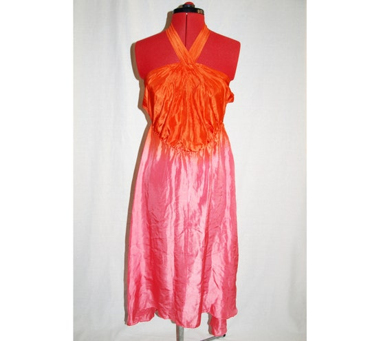 Vintage 1970s Studio 54 style ombre silk dress siz