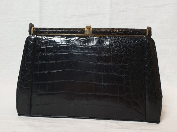 Lovely condition 1950s - 60s patent croc leather t