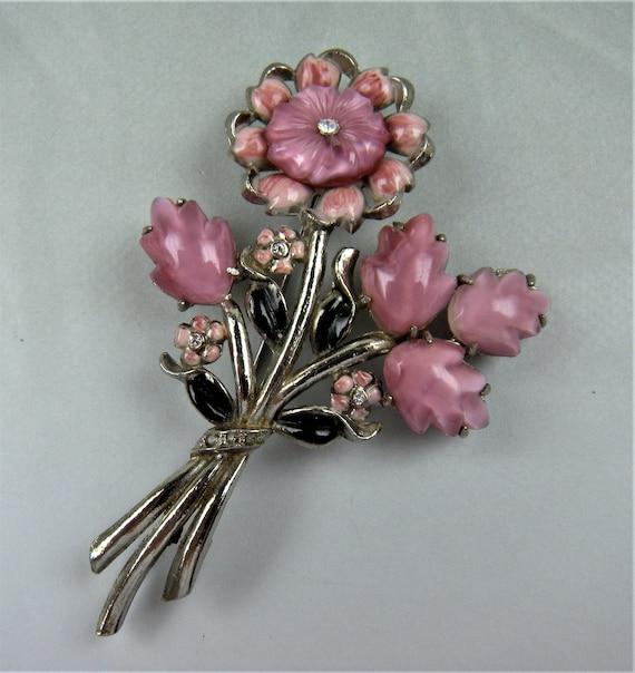 1930's Signed Coro Flower Brooch