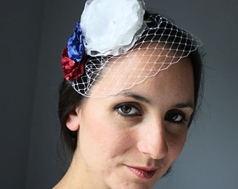 Red, White, and Blue Mini Birdcage Veil Bridal Headband, Patriotic Wedding, Vow Renewal, Military Bride
