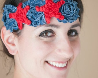Red Stars and Blue Denim Shabby Chic Flowers Headband, Patriotic, Bohemian, 4th of July, 1920s, Gatsby // READY TO SHIP
