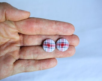 Petite White Red and Blue Plaid Fabric Button Earrings, Patriotic Earrings, 4th of July, Earring Post/Stud, Red White and Blue