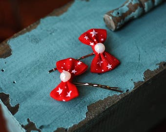 Petite Red Star Spangled Bows Bobby Pin Set, Pair, Hair Accessories