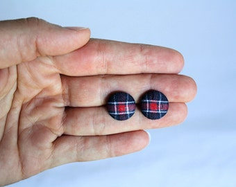 Petite Blue Red and White Plaid Fabric Button Earrings, Patriotic Earrings, 4th of July, Earring Post/Stud, Red White and Blue