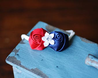 Red White and Blue Petite Flower Baby/Toddler Headband, Patriotic, One Size Fits Most, Hair Accessory