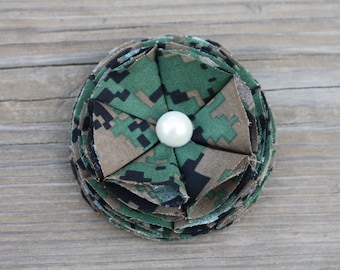Military Cammie Flower Bloom Hair Clip or Brooch, Military Camo Accessory
