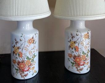 Vintage SET Pair Ginger Jar Hand painted Fall Wild Flowers Floral Vanity Brass Lamp Table Botanical Bohemian BoHo Ceramic Urn Vase