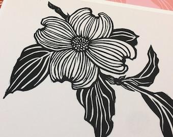 Perseverance: dogwood flower A6 foldover notecard