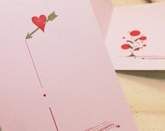 Bleeding Heart A1 foldover letterpress notecard