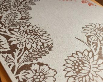 Overgrown Dover floral illustration A2 foldover card & envelope