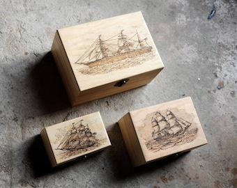Sailing ships - Chinese box set pyrography art